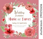 flower wedding invitation card  ... | Shutterstock .eps vector #290252636
