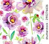 roses seamless pattern.... | Shutterstock . vector #290276636
