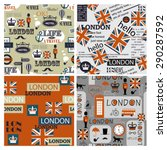 set of four british newspaper... | Shutterstock .eps vector #290287592
