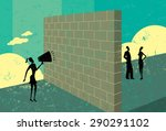 shouting at a brick wall a... | Shutterstock .eps vector #290291102