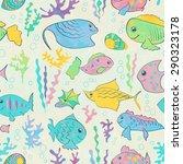 seamless pattern with cartoon... | Shutterstock .eps vector #290323178