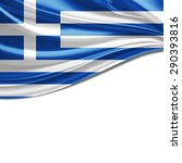 Greece Flag Of Silk And White...