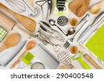 background of kitchen utensils... | Shutterstock . vector #290400548