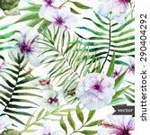 watercolor seamless tropical... | Shutterstock .eps vector #290404292
