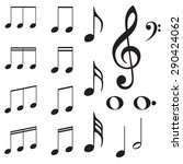 set of music note silhouettes... | Shutterstock .eps vector #290424062