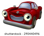 a happy red old fashioned car... | Shutterstock . vector #290440496