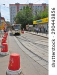 Small photo of MOSCOW, RUSSIA - 15.06.2015. The tram rides on a rails. Every day go on a city 1,000 trams