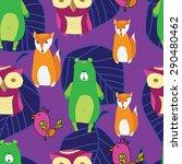 vintage forest seamless pattern ...   Shutterstock .eps vector #290480462