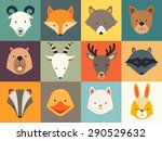 set of cute animals icons ... | Shutterstock .eps vector #290529632