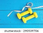 yellow dumbbells and measuring...   Shutterstock . vector #290539706