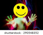 Small photo of sexy acid house smiley rave dancer