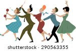group of people dressed in late ... | Shutterstock .eps vector #290563355