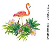 Vector Pink Flamingo With...