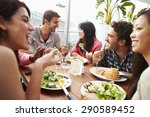 group of friends enjoying meal... | Shutterstock . vector #290589452