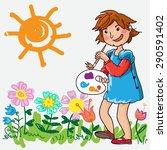girl painting summer flowers....   Shutterstock .eps vector #290591402