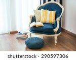 cozy armchair with open book... | Shutterstock . vector #290597306