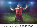 victorious soccer player | Shutterstock . vector #290599565