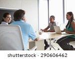 five businesspeople having... | Shutterstock . vector #290606462
