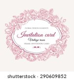 vector floral frame with roses... | Shutterstock .eps vector #290609852