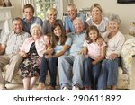 large family group sitting on... | Shutterstock . vector #290611892
