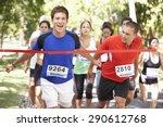 Male Athlete Winning Marathon...