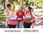 Group Of Female Athletes...