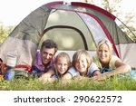 middle aged family on camping... | Shutterstock . vector #290622572