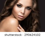 beautiful woman with evening... | Shutterstock . vector #290624102