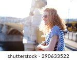 happy redhead tourist woman on... | Shutterstock . vector #290633522