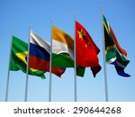 brics countries flags waving in ... | Shutterstock . vector #290644268
