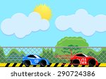 two cars racing vector