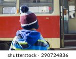 child at tram or bus stop...   Shutterstock . vector #290724836