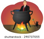 smiling businessman sitting in... | Shutterstock .eps vector #290737055
