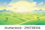 sunny hilly landscape  sunrise... | Shutterstock .eps vector #290738336