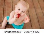 Cute Little Baby Boy Eats...