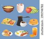 different types of breakfast... | Shutterstock .eps vector #290748782
