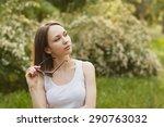 outdoors portrait of beautiful... | Shutterstock . vector #290763032