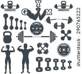 vintage weight lifting labels...   Shutterstock .eps vector #290765222