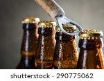 brown ice cold beer bottles... | Shutterstock . vector #290775062
