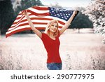beautiful patriotic young woman ... | Shutterstock . vector #290777975