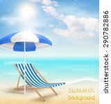 beach with sun beach umbrella... | Shutterstock . vector #290782886