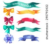 set of watercolor hand drawn... | Shutterstock .eps vector #290792432