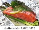 fresh salmon with asparagus in...