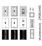 Light switches and faceplates with glossy black, white, and stainless steel texture - vector set - stock vector