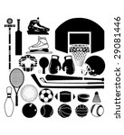 Sports equipment and balls in detailed vector silhouette - stock vector