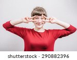 a woman looking through her... | Shutterstock . vector #290882396