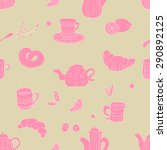 cute seamless tea pattern in... | Shutterstock .eps vector #290892125