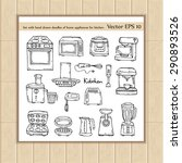vector set with hand drawn... | Shutterstock .eps vector #290893526