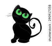 black cat glowing eyes vector...   Shutterstock .eps vector #290917358