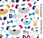 seamless childish pattern with... | Shutterstock .eps vector #290955416